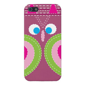 Cute Owl Stitched Look Whimsical Bird iPhone 5/5S Cases