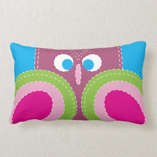 Cute Owl Stitched Look Whimsical Bird Throw Pillows