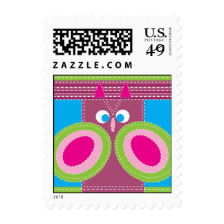 Cute Owl Stitched Look Whimsical Bird Postage Stamps