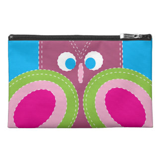 Cute Owl Stitched Look Whimsical Bird Travel Accessory Bag