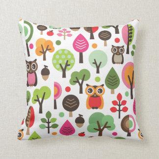 Cute owl tree autumn nature retro pattern pillow