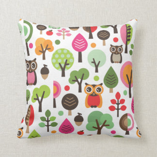 Cute owl tree autumn nature retro pattern throw pillow