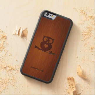 Cute Owl Tree with Custom Name Carved® Maple iPhone 6 Bumper