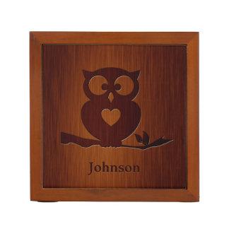 Cute Owl Tree with Custom Name & in Rosewood Look Pencil Holder