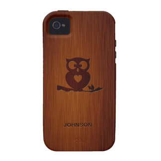 Cute Owl Tree with Custom Name & Luxury Rosewood Case For The iPhone 4