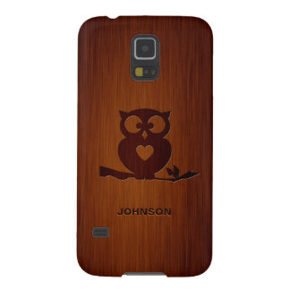 Cute Owl Tree with Custom Name & Luxury Rosewood Cases For Galaxy S5