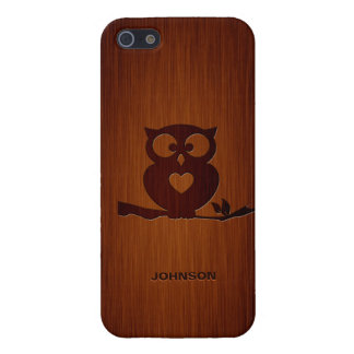 Cute Owl Tree with Custom Name & Luxury Rosewood iPhone 5/5S Cases