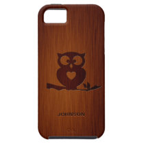 Cute Owl Tree with Custom Name & Luxury Rosewood iPhone SE/5/5s Case