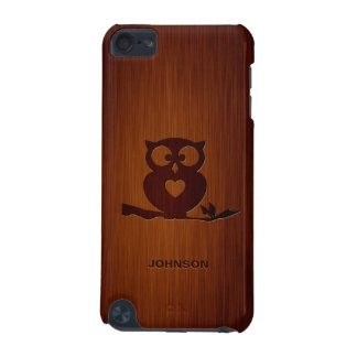 Cute Owl Tree with Custom Name & Luxury Rosewood iPod Touch 5G Case