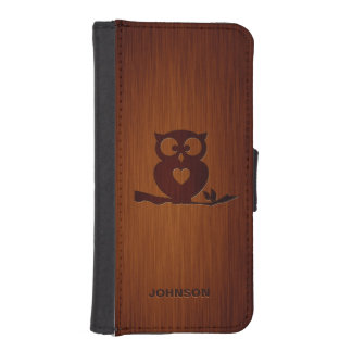 Cute Owl Tree with Custom Name & Luxury Rosewood Phone Wallet Case