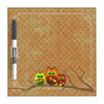 Cute Owl Trio on Apricot Dots - Dry-Erase Boards