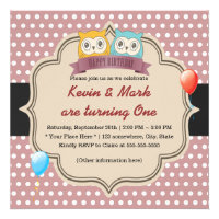 Cute Owl Twins Polka Dots Birthday Party Personalized Invites