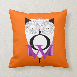 Cute Owl Typography Word Art Design Throw Pillow