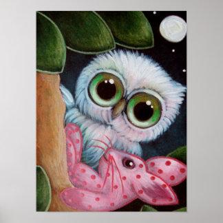 "CUTE OWL w BUNNY RABBIT TOY 16"" x 12"" Poster Matte"