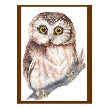 countrymousestudio Cute Owl - Watercolor Bird Collection Postcard