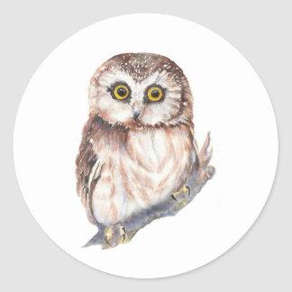 Cute Owl - Watercolor Bird Collection Classic Round Sticker