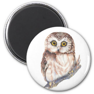 Cute Owl ,Watercolor Bird Nature, 2 Inch Round Magnet