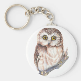 Cute Owl ,Watercolor Bird Nature, Keychain