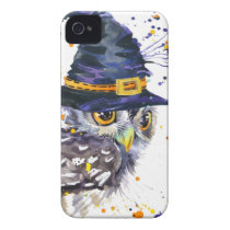 cute owl wearing witches hat Case-Mate iPhone 4 case