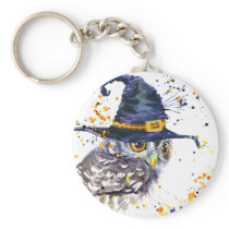 cute owl wearing witches hat keychain
