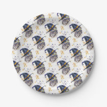 cute owl wearing witches hat paper plate