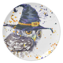 cute owl wearing witches hat plate