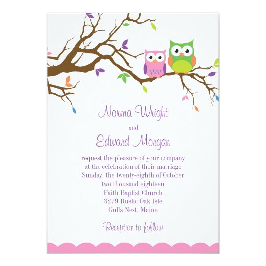 Cute Owl Wedding Invitation