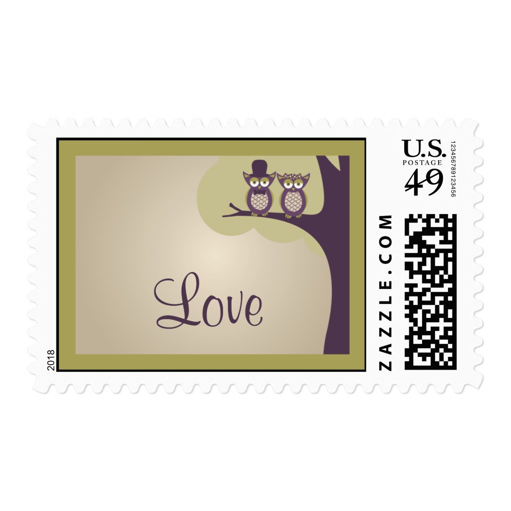 Cute Owl Wedding RSVP Postage Stamps