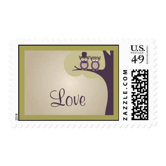 Cute Owl Wedding RSVP Postage Stamps