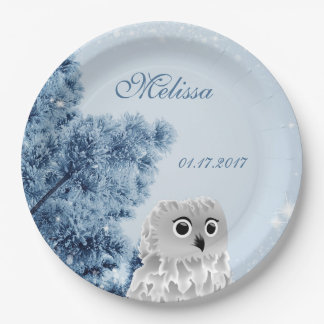 Cute Owl Winter Kids Birthday Party Paper Plate