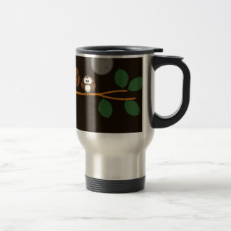 Cute owl with baby on green tree in moon light travel mug