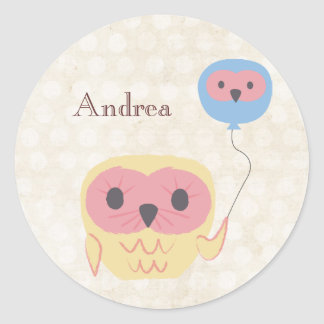 Cute Owl with Balloon Personalized Name Sticker