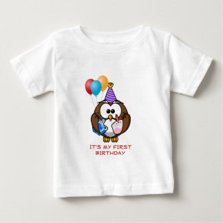 Cute Owl with Balloons and Cake It's My Birthday Baby T-Shirt