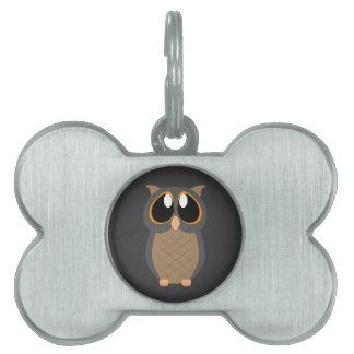 Cute Owl with Big Eyes Pet ID Tag