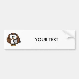 Cute Owl with Ereader Tablet Bumper Sticker