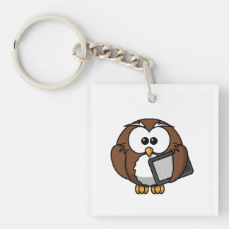 Cute Owl with Ereader Tablet Keychain