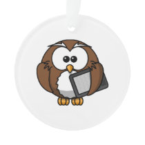 Cute Owl with Ereader Tablet Ornament
