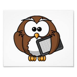 Cute Owl with Ereader Tablet Photo Art