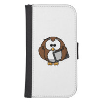 Cute Owl with Ereader Tablet Wallet Phone Case For Samsung Galaxy S4