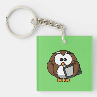 Cute Owl with Ereader Tablet with Green Background Keychain