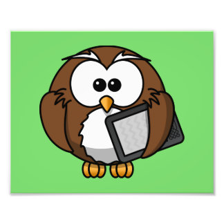 Cute Owl with Ereader Tablet with Green Background Art Photo