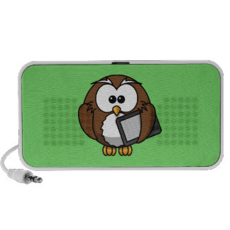 Cute Owl with Ereader Tablet with Green Background Laptop Speakers