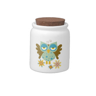 Cute owl with flowers candy jars