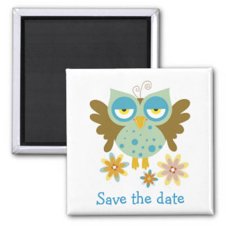 Cute owl with flowers magnet