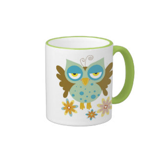 Cute owl with flowers mugs