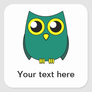 Cute Owl with Huge Yellow Eyes Square Sticker
