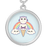 Cute Owl with Ice Cream Silver Plated Necklace