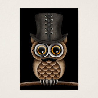 Cute Owl with Monocle and Top Hat Black Business Card