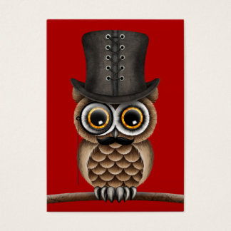 Cute Owl with Monocle and Top Hat Red Business Card