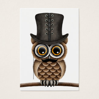 Cute Owl with Monocle and Top Hat White Business Card